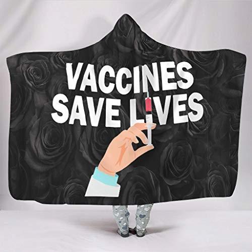 Sudaderas con capucha para vacunas, salvar vidas, superacogedoras, personalizadas, para invierno, para adultos, regalo blanco de 50 x 60 pulgadas