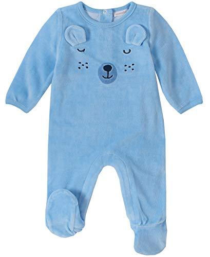 Absorba Baby-Jungen Footie-Velour Schlafanzug, blau, 3-6 Monate
