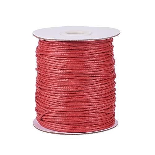 1,5 mm 100yards/roll encerado hilo de algodón para DIY joyería collar pulsera artesanía macramé hacer rojo