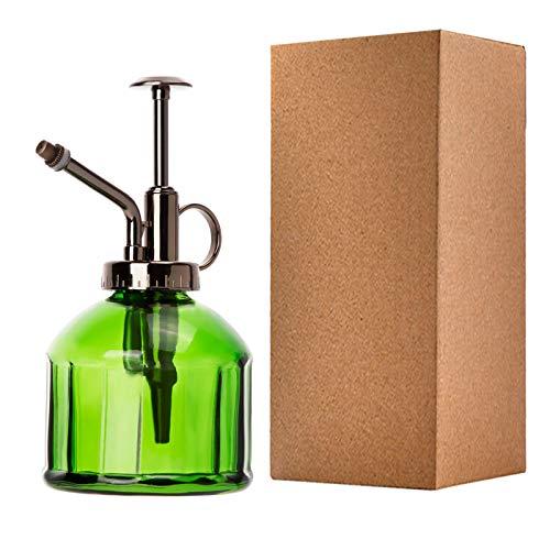 ANSUG Botella de Spray de Riego de Vidrio Estilo Vintage, pulverizador de Plantas, con Bomba, Cristal Decorativo Regadera pequeña Vintage Retro Forma verde/200ml