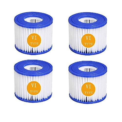 BBUY Cartuchos de filtro para piscina VI, filtros de repuesto para Bestway VI, cartuchos de filtro para Miami, Vegas, Monaco Lay-Z-Spa 58323 (4 unidades)