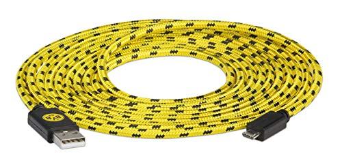 snakebyte BVB Micro USB Ladekabel 3 Meter-Offiziell lizenziertes Borussia Dortmund Micro USB Kabel /Nutzung für Smartphone,Handy,Tablet, Controller,PS4, Xbox, Computer, Laptop, uvm/BVB Design