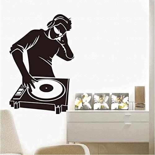 Pegatinas de pared modernas calcomanías de vinilo auriculares de música electrónica pegatinas geniales para calcomanías de Dj para la decoración del hogar del dormitorio del niño 42X64Cm