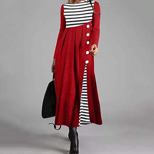 NHNKB Disfraz de Steampunk para mujer, maxivestido, de manga larga, de invierno, a rayas, elegante, vintage, informal, color rojo, S