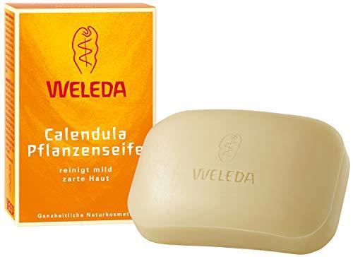 WELEDA Calendula Pflanzenseife, vegane Naturkosmetik Seife mit ätherischen Ölen reinigt und pflegt die Haut besonders sanft, erzeugt einen cremigen Schaum (1 x 100 g)