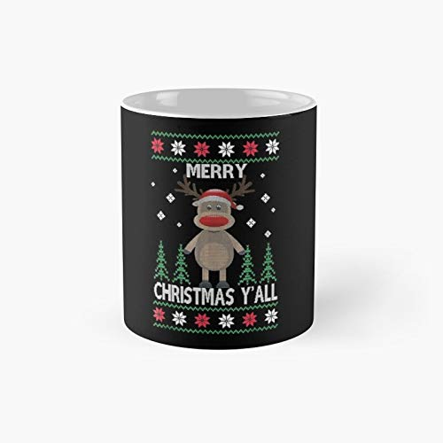 Sock Monkey Reindeer Santa Hat Merry Christmas Yall Classic Mug Birth-Day Holi-Day Gift Drink Home Kitchen