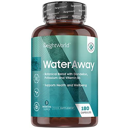 Detox Water Away 180 Cápsulas Vegano, Diurético Potente Para La Retención de Líquidos | Suplemento Natural con Diente de León, Potasio, Vitamina B6, Té Verde, arándano, Fórmula Drenante