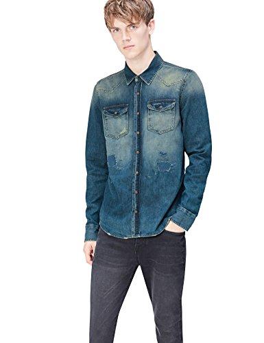 FIND Camisa Vaquera Desgastada para Hombre, Azul (Simeto Wash), X-Large