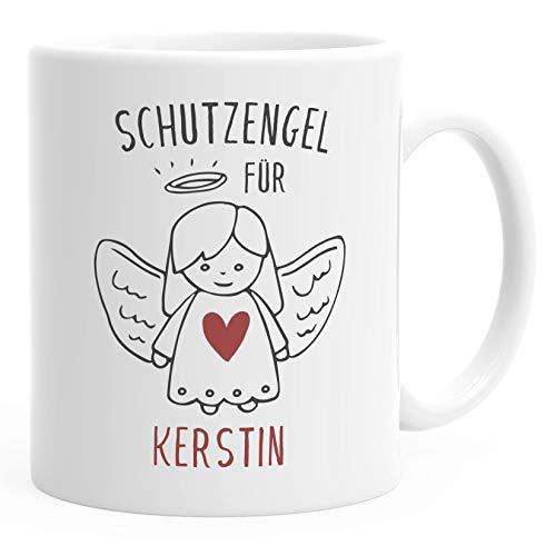 personalisierte Kaffeetasse Schutzengel mit Name Namenstasse personalisierte Geschenke Glücksbringer SpecialMe® weiß Keramik-Tasse