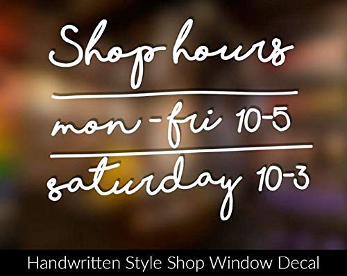 SUPERSTICKI Shop Hours openingstijden wenstekst 20 cm sticker, autostickers, stickers, decal, muurtattoo, van hoogwaardige folie, UV- en wasstraatbestendig,