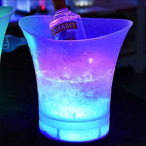 GAXQFEI Los Regalos de Barril de Whi, Barler de Roblo, Cubo de Hielo Led, Luces de Hielo de Hielo Led Cubo de Enfriador de Plástico Duro, Cambio de Color Cerveza de Color Bebidas de Vino de Champagne