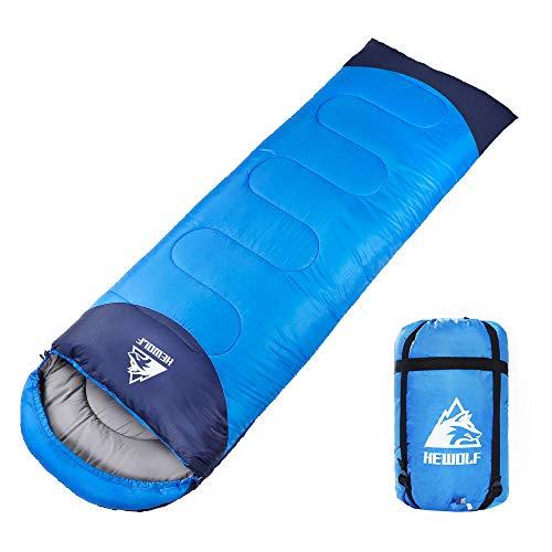 Hewolf Saco de Dormir Manta Sacos de Dormir con Sección de Cabeza para Camping Saco de Dormir Ligero Compacto Impermeable para Adultos 4 Estaciones, 220 x 75 cm
