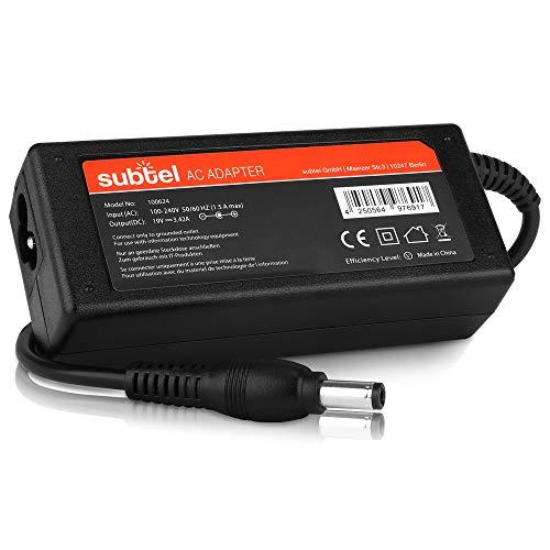 subtel Fuente de alimentación (19V,65W) Compatible con ASUS VivoPC UN45 / UN62 / UN65 / VC60 / VM40 / VM60 / VM65 (3m) Cable de Corriente Cargador Ordenador portatil
