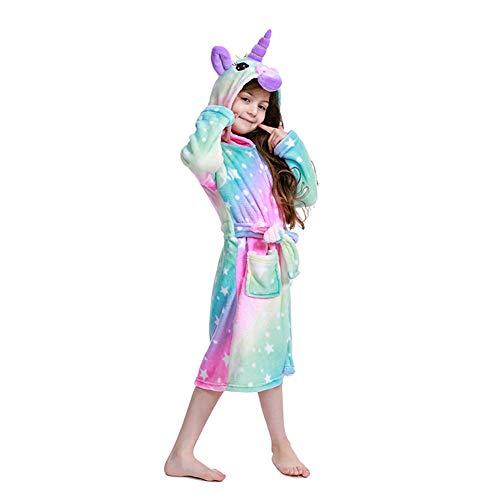 2020 Newest Comfy Unicorn Hooded Bathrobe for Girls,Premium Flannel Robe-Unicorn Gifts(4-5 Years,Galaxy Starry Sky)