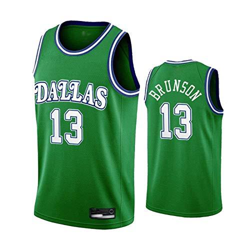 ZMIN Baloncesto de los Hombres NBA Jersey, Mavericks # 13 Brunson Jersey, Tejido de Malla Transpirable Uniformes Deportivos sin Mangas Chaleco,Verde,XXL 185~190cm