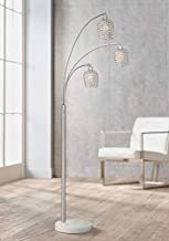 Cielo Modern Arc Floor Lamp Brushed Nickel 3-Light Marble Base Faceted Crystal Glass Shades for Living Room Reading Bedroom Office - Possini Euro Design