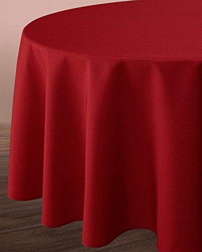 Lin nappe ronde 180 cm Rouge/carreaux avec olives de Provence substances
