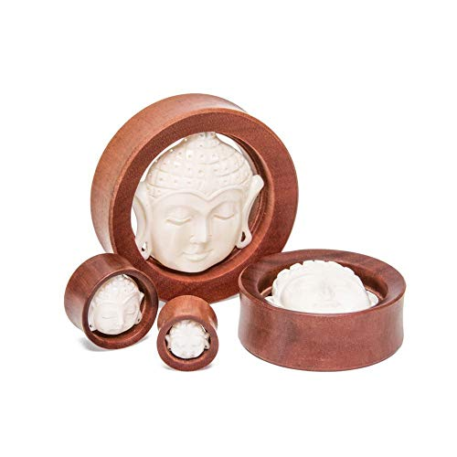 Elementals Organics Saba Wood Plugs for Ear– Carved Bone Buddha Ear Gauge Double Flared Hollow 1 PC, 34mm