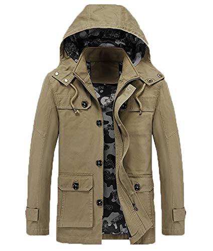 Mr.1991INC&Miss.GO Winter Business Men's Jacket Thickened Casual Mid-Length Windbreaker Jacket Khaki