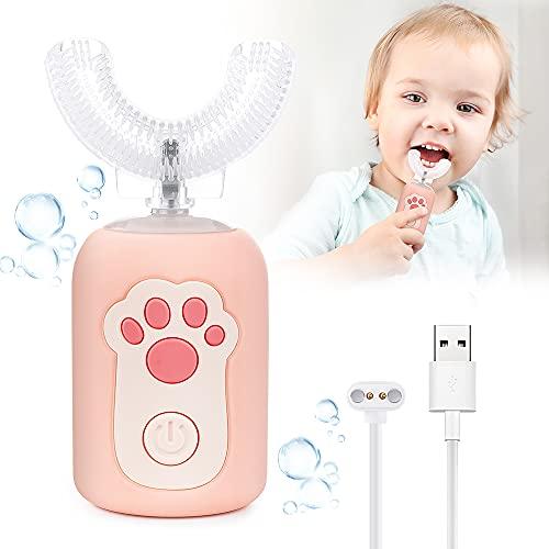 Cepillo de Dientes Eléctrico para Niños, 2 Modos Sonic Cepillo en Forma de U Niños, con Carga USB y Función IPX7 Prueba Agua, para Niños Pequeños de 2 a 6 Niño