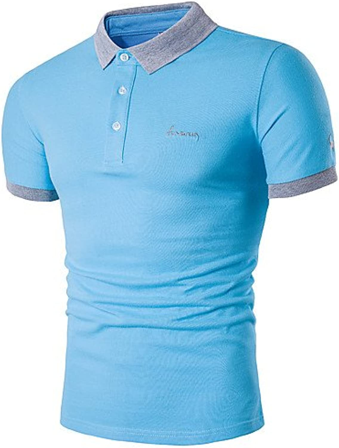 LZZNA Men's Daily Weekend Business Casual Active Polo, Solid Shirt Collar Short Sleeves Cotton Polyester, XXL