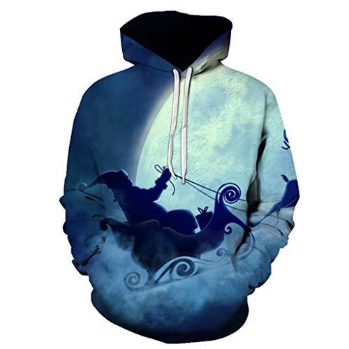 Dasongff Unisex hoodie 3D print hoodie Kerstpullover met capuchon lange mouwen bont sweatshirt ronde hals Xmas sweatshirt capuchon voor dames en heren S-XXXXL Large blauw