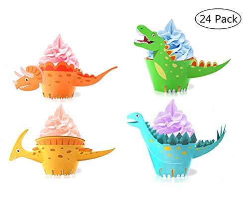 Yongbest Cupcake Wrapper Dinosaurier,24 Stücke Dinosaurier Kuchen Dekoration Cake Wrapper Topper für Jungen Kindergeburtstag Hochzeiten Baby Duschen Party Decor Gefälligkeiten