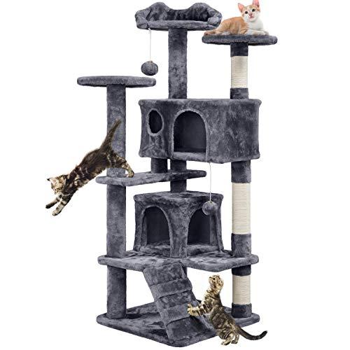 Yaheetech Tiragraffi Albero per Gatti Elegante con 2 Palle e Corde di Graffiatoio Sisal Giocattolo Giochi Gatto Antiribaltamento Grigio
