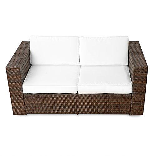 XINRO® (2er Polyrattan Lounge Sofa - Gartenmöbel Couch Bank Rattan - durch andere Polyrattan Lounge Gartenmöbel Elemente erweiterbar - In/Outdoor - handgeflochten - braun - 3