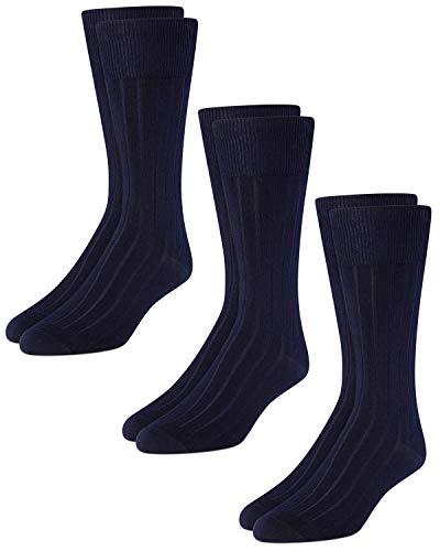 Calvin Klein Men's Dress Socks – Cotton Crew Socks (3 Pack)  Navy  Shoe Size 7-12
