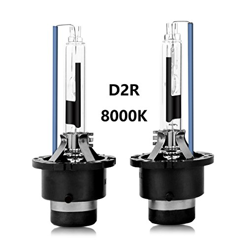 D2R 8000K HID Xenon Headlight Replacement Bulbs 35W High And Low Beam ZRSJ Car Headlights - Pack of 2 (8000k, D2R)