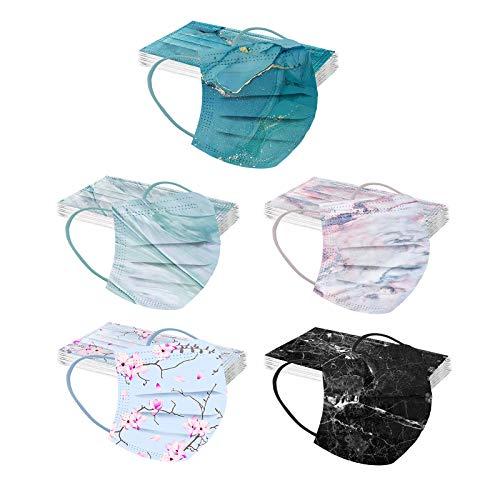 Rabbiter 10-50 Stück Erwachsene Einweg Mundschutz Multifunktionstuch,Aquarellmuster mit Gradienten im ästhetischen Stil Maske,3-lagig Staubdicht Atmungsaktive Mund-Nasenschutz Bandana Halstuch