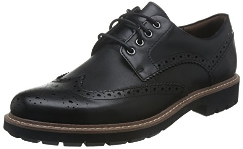 Clarks Batcombe Wing, Scarpe Stringate Derby Uomo, Nero (Black Leather-), 43 EU