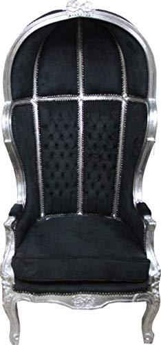 Casa Padrino Barock Thron Sessel Victory Schwarz/Silber - Balloon Chair -Thron Stuhl Tron