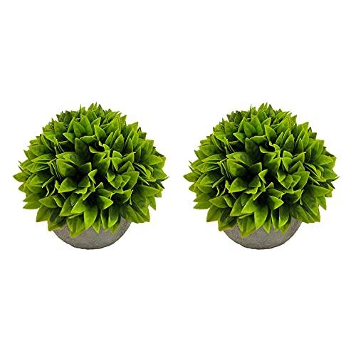 PLANTA - Lote de dos plantas pequeñas verdes artificiales con maceta, altura +/- 12 cm x diámetro +/- 13 cm