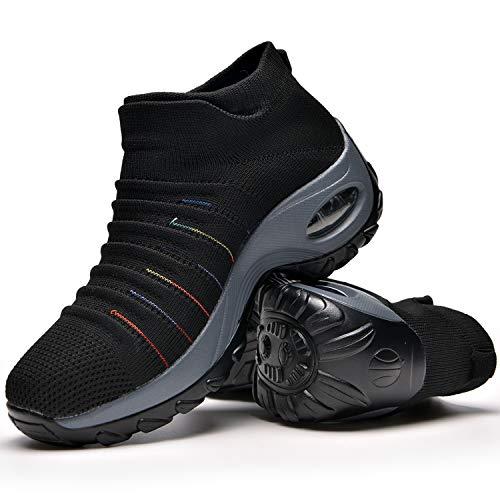 Zapatos Deporte Mujer Zapatillas Deportivas Correr Gimnasio Casual Zapatos para Caminar Mesh Running Transpirable Aumentar Más Altos Sneakers Black-38