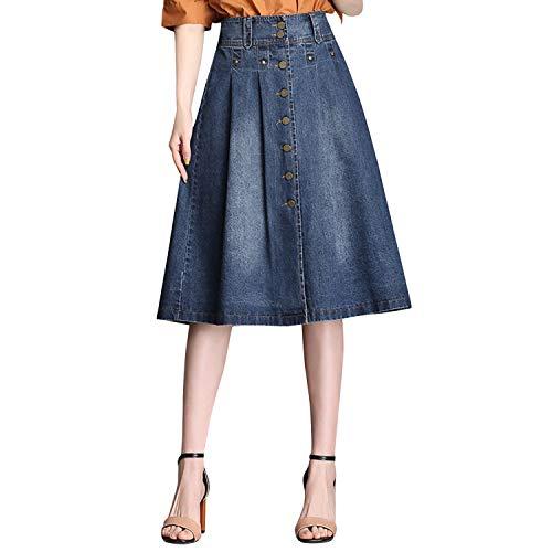 LAEMILIA Damen Jeansrock Hohe Taille Midirock Lang Denim Jeans Faltenrock mit Knopf Elegant A-Linie Damenrock Sommer Herbst Frühling Größe 36 bis 46