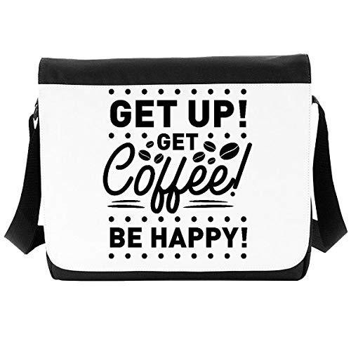Get up get Coffee be Happy - Caffeine Statement [Insp] Shoulder Bag - Large