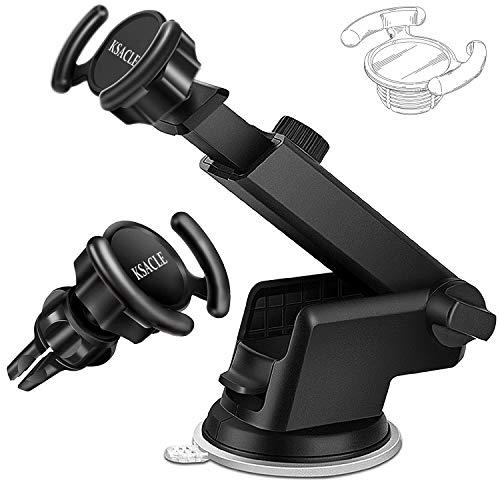 KSACLE Car Phone Mount, Phone Holder, Universal Phone Holder for Car, 360 Degrees Dashboard Desk Wall Bracket for GPS Navigation and Any Smartphones (Twe)