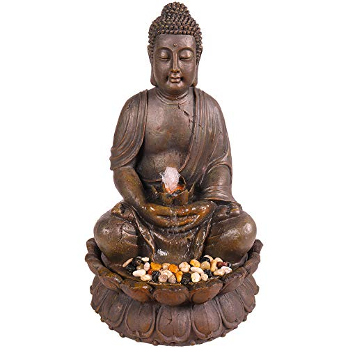 Alpine Corporation 33' Tall Indoor/Outdoor Meditating Buddha Water Fountain Yard Décor