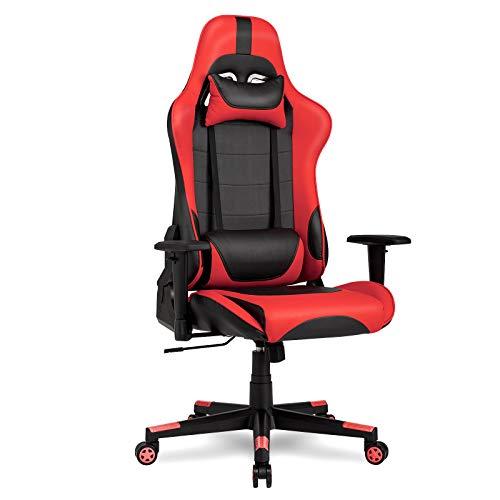 IntimaTe WM Heart Racing Chaise de Bureau En PU, Fauteuil siège Gaming avec inclinaison de 135° Appui-tête et Soutien Lombaire Ajustable (Rouge)
