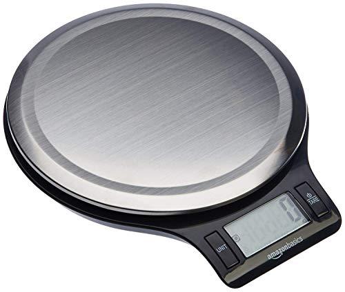 Amazon Basics Balance de cuisine numérique, sans bisphénol A, en acier inoxydable avec affichage LCD (piles fournies)