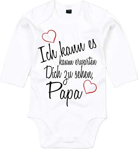 Mister Merchandise Baby Body Ich kann es kaum erwarten Dich zu sehen Papa Wiedersehen Weg Reise Weiß - Langarm, 0-3
