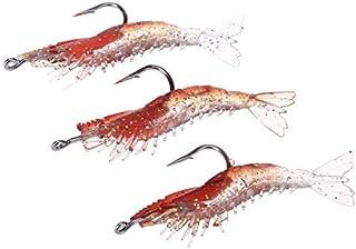 F-JIUJIN, 3pcs 6cm/3g Artificial Fishing Lure Bionic Shrimp Prawn Soft Bait Fishing Tackle Noctilucent Luminous Lifelike w...