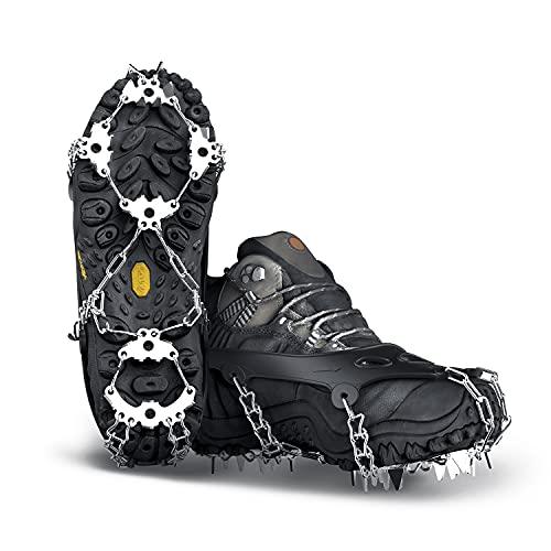 Yesloo Steigeisen, Schuhe Spike mit 24 Edelstahl Zähne und Silikon Band Anti Rutsch auf EIS und Schnee für Wandern Bergschuhe Stiefel usw (M, Schwarz)