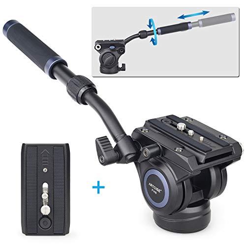 """Video Fluid Drag Pan Head FH6 Hydraulikkopf Glatte Dämpfung CNC Aluminiumlegierung Professioneller Kamerastativkopf mit 1/4 """"und 3/8"""" Schrauben für DSLR-Kamera Camcorder max. Last 10 kg"""