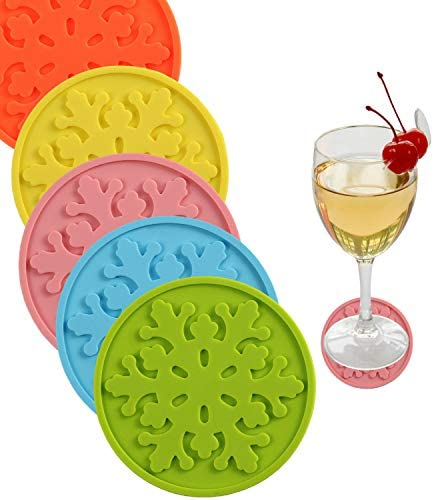 5 Pack Silicone Coasters Absorbent Drink Coaster Set in Rainbow Colors Kids Safe Rubber 3 54 product image