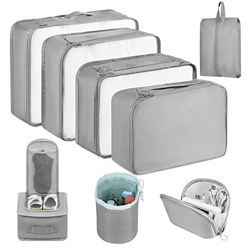 Newdora Packing Cubes, 8 PCS Travel Luggage Organizer Set Durable Travel Essentials Bags for Clothes Shoes Cosmetics Cable(Grey)
