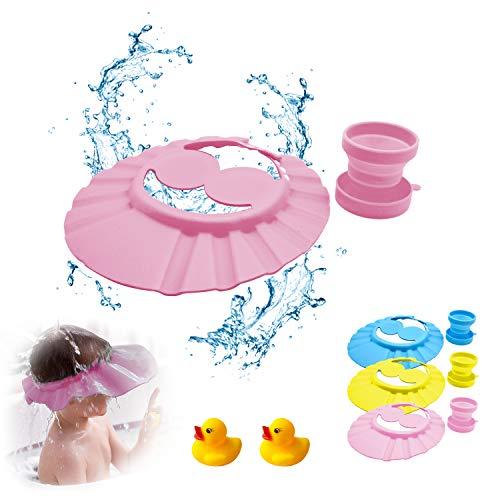 Duschhaube kinder, haare waschen kinder schutz, baby bade, haarwaschhilfe kinder, augenschutz haare waschen, Duschhaube für Kinder x1, Faltbare Tasse x1, Entenspielzeug x2 (rosa)