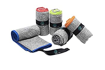 Acteon Microfiber Gym Towels - Quick Dry Workout Towel - Fights Odors - Compact Sports Towel for Workout Travel Camping - Ultra Lightweight Sweat Towel - 5-Pack Heather Gray - 30 x16